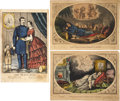 "Miscellaneous:Ephemera, [Civil War] Group of 3 Currier & Ives Engravings. Allhand-colored lithographic prints near 13.25"" x 9.5"", withsentimental ..."