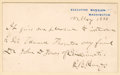 """Autographs:U.S. Presidents, Rutherford B. Hayes Autograph Note Signed as president. One page,4.5"""" x 2.75"""", May 15, 1880, Washington, D.C., on Executive..."""