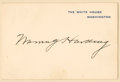 "Autographs:U.S. Presidents, Warren G. Harding Signed White House Card, .5"" x 2.75"", n.d.,Washington, D.C.,..."