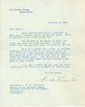 """Autographs:U.S. Presidents, Franklin D. Roosevelt Typed Letter Signed as president. One page,7"""" x 8.75"""", February 8, 1944, Washington, D.C., on light g..."""