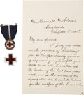 """Autographs:Celebrities, Clara Barton Autograph Letter Signed with Two Red Cross Pins. Twoone-sided pages, 4.5"""" x 7"""", Washington, D.C., November 21,...(Total: 3 Items)"""