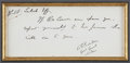 "Autographs:Military Figures, Charles George ""Chinese"" Gordon Note Signed. One page, 7"" x 3"",sight size, n.d., n.p. Gordon writes, ""No. 88/ [?]..."