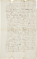 Autographs:Statesmen, [Benjamin Franklin] Contemporary Copy of Ben Franklin's Letter ofCondolence Upon the Death of His Brother, addressed to ...