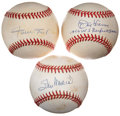 Autographs:Baseballs, Vintage Stars Single Signed Baseballs Group of 3. ... (Total: 3items)