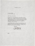 Golf Collectibles:Autographs, 1941 Bobby Jones Signed Typed Letter....