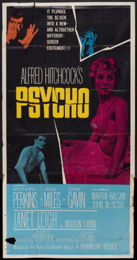 "Psycho (Paramount, 1960). Three Sheet (41"" X 81""). Hitchcock"
