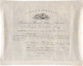 Autographs:U.S. Presidents, James Buchanan Document Signed as fifteenth president andcountersigned by Secretary of the Treasury Howell Cobb. On...