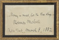 "Autographs:Authors, Herman Melville Autograph Note Signed. One card, 3.75"" x 2.75"" [sight], March 8, 1882, New York. Melville (1819-1891), The A..."