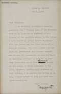 """Autographs:Authors, Margaret Mitchell Typed Letter Signed """"Margaret"""" tohistorian Franklin Miller Garrett. One page, 6"""" x 9"""" [sight], May3,..."""