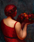 Fine Art - Painting, American:Modern  (1900 1949)  , ANGEL ZARRAGA (Mexican, 1886-1946). Basket of Plenty, 1922.Oil on canvas. 32 x 25 inches (81.3 x 63.5 cm). Signed and d...