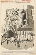 Pin-up and Glamour Art, DAN DECARLO (American, 1919-2001). Men's magazine cartoonillustration, 1956. Ink on paper. 13 x 9 in.. Initialed lower...