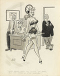 Pin-up and Glamour Art, DAN DECARLO (American, 1919-2001). Men's magazine cartoonillustration, 1955. Ink on paper. 12 x 9 in.. Initialed lower...