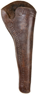 Western Expansion:Cowboy, Early Tooled Slim Jim Holster, Circa 1870-1890. The unmarked,closed toe holster is border tooled with rosettes at the top a...