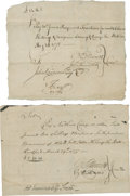 "Autographs:Statesmen, Oliver Ellsworth Two Revolutionary War Documents Signed ""O.Ellsworth"". Both are near 7.5"" x 6.5"", March 29, 1777, and M...(Total: 2 Items)"