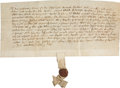 "Autographs:Non-American, [Henry VII] Grant of Tenement, the Hart and the Swan, Sandwich,1475. One page with docketing on the verso, 10.5"" x 5"", Octo..."