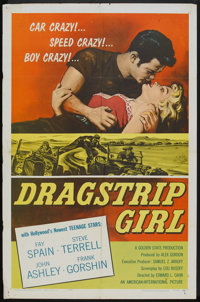 """Dragstrip Girl (American International, 1957). One Sheet (27"""" X 41"""") and Lobby Cards (3) (11"""" X 14"""")..."""