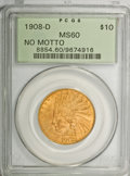 Indian Eagles: , 1908-D $10 No Motto MS60 PCGS. PCGS Population (21/346). NGCCensus: (23/364). Mintage: 210,000. Numismedia Wsl. Price for ...