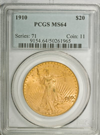 1910 $20 MS64 PCGS. PCGS Population (1087/151). NGC Census: (807/70). Mintage: 482,000. Numismedia Wsl. Price for NGC/PC...