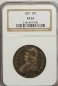 Bust Half Dollars: , 1821 50C VF35 NGC. NGC Census: (11/403). PCGS Population (28/427).Mintage: 1,305,797. Numismedia Wsl. Price for NGC/PCGS c...