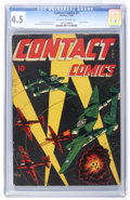 Golden Age (1938-1955):War, Contact Comics #3 (Aviation Press, 1944) CGC VG+ 4.5 Off-white towhite pages....