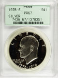 Proof Eisenhower Dollars: , 1976-S $1 Silver, Type One PR67 PCGS. PCGS Population (124/59). NGCCensus: (49/63). Mintage: 4,000,000. Numismedia Wsl. Pr...