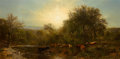 American:Hudson River School, JAMES MCDOUGAL HART (American, 1828-1901). Cows Watering,1865. Oil on canvas. 26-3/4 x 56-3/4 inches (68.1 x 144.3 cm)...