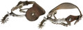 Western Expansion:Cowboy, Vintage Western Spurs. Nickel plated with ten-point rowels and heelchains. The spur straps are fully tooled. The heel bands...