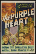 "Movie Posters:War, The Purple Heart (20th Century Fox, 1944). One Sheet (27"" X 41"").War. Starring Dana Andrews, Richard Conte, Farley Granger,..."
