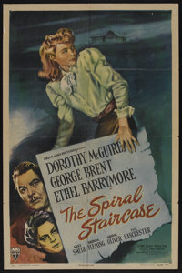 "The Spiral Staircase (RKO, 1945). One Sheet (27"" X 41""). Psychological Thriller. Starring Dorothy McGuire, Geo..."