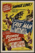 "Movie Posters:Adventure, The Cave Man/Blonde Savage Combo (Favorite Films Corp., R-1947).One Sheet (27"" X 41""). Adventure. Starring Victor Mature, C..."
