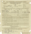 Music Memorabilia:Documents, Billie Holliday Performance Contract....