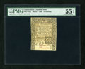 Colonial Notes:Connecticut, Connecticut March 1, 1780 10s Slash Cancelled PMG AboutUncirculated 55 EPQ....