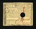 Colonial Notes:Massachusetts, Massachusetts May 5, 1780 $8 Extremely Fine....