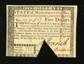 Colonial Notes:Massachusetts, Massachusetts May 5, 1780 $5 New....