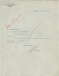Autographs:Letters, 1923 Ban Johnson Signed Typed Letter. ...