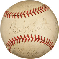 1934 New York Yankees and Chicago White Sox Multi-Signed Baseball with Ruth and Gehrig