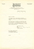 "Autographs:Celebrities, Amelia Earhart Typed Letter Signed. One page on Cosmopolitanmagazine letterhead, 7.25"" x 10.5"", New York City, January ..."