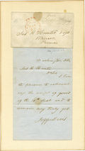 Autographs:Statesmen, Jefferson Davis Autograph Letter Signed With Free Franked Cover asUnited States senator. Two pages, written on recto of...