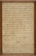 """Autographs:U.S. Presidents, Thomas Jefferson Autograph Endorsement Signed approving the appointment of a lighthouse keeper. One page, 7.5"""" x 12"""" (sight)..."""