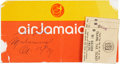Boxing Collectibles:Autographs, 1974 Muhammad Ali Signed Airline Ticket Jacket. ...