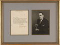 Miscellaneous:Ephemera, W. Somerset Maugham. Typed Letter Signed, with Studio Portrait byPach Bros. One framed piece containing: Signed letter on V...