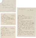 Miscellaneous:Ephemera, W. Somerset Maugham. One Autograph Letter Signed and Two AutographNotes Signed, To Writer Douglas Ainslie. All items in fin...