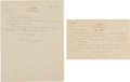 Miscellaneous:Ephemera, W. Somerset Maugham. Two Autograph Letters Signed, From Maugham Toan Editor at Viking Publishing. Two letters written in Ja...(Total: 2 Items)