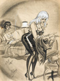 Pin-up and Glamour Art, BILL WARD (American, 1919-1998). Men's magazine cartoonillustration, 1963. Mixed-media on paper. 23 x 15.5 in.. Signed...