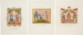 Antiques:Posters & Prints, Joseph Strutt. 1796. Exceptional Collection of Six Hand-ColoredCopper-Plate Engravings Featuring Early English Women's Fashio...(Total: 6 Items)