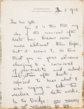 "Autographs:Authors, Thornton Wilder. Autograph Letter Signed, ""Thornton Wilder."" One page, approximately 6 x 8 inches, January 5, 1938, New Have..."