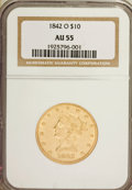 Liberty Eagles: , 1842-O $10 AU55 NGC. NGC Census: (32/22). PCGS Population (7/3).Mintage: 27,400. Numismedia Wsl. Price for problem free NG...