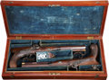 Military & Patriotic:Pre-Civil War, Cased Set of American Percussion Saw-Handled Dueling Pistols by P. Vallee, Philadelphia, Circa 1838....
