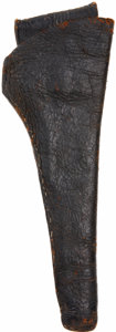 Western Expansion:Cowboy, Early Soft Leather Slim Jim Holster, Circa 1860-1870. The unmarked,black, closed toe holster accommodates a Colt 1851/1861 ...