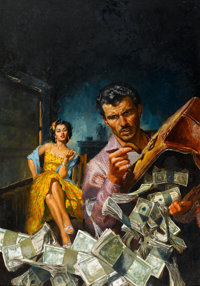 ROBERT SCHULZ (American, 1928-1978) The Big Boodle, paperback cover, 1955 Oil on board 28 x 19.5